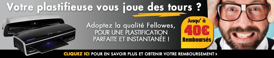 Adoptez la qualité Fellowes et bénéficiez de notre offre jusqu'à 50€ remboursés sur une sélection de destructeurs et plastifieuses !
