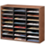 Literature Organizer - 24 Compartment, Letter, Medium Oak