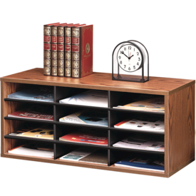 Literature Organizer - 12 Compartments, Medium Oak
