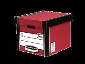 Grande caisse pour archives standard Bankers Box® Premium 726 rouge__BB_PremTallStorageBoxREDClosed_72607_LF.png