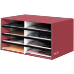 BANKERS BOX® Decorative 8 Compartment Literature Sorter, Letter, Persimmon Red__61403.png
