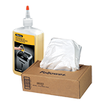 Shredder supplies - Keep your cross-cut shredder running efficiently with shredder oil, and ensure easy disposal of paper waste with Fellowes waste bags.
