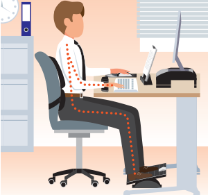 Workspace Ergonomic Posture with Back Support and Foot Support