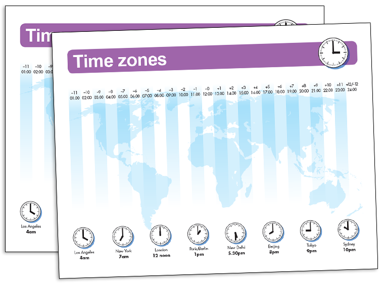 Printable - World Time Zone Map - Fellowes®
