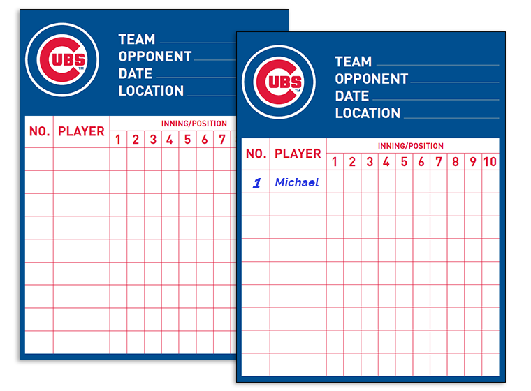 It is a graphic of Printable Baseball Lineup Cards with template