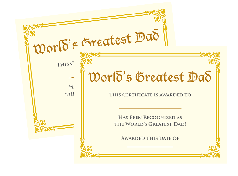 printables world s best dad certificate fellowes