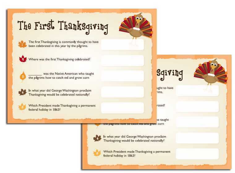 image about Thanksgiving Quiz Printable titled Printables - Thanksgiving Quiz - Fellowes®