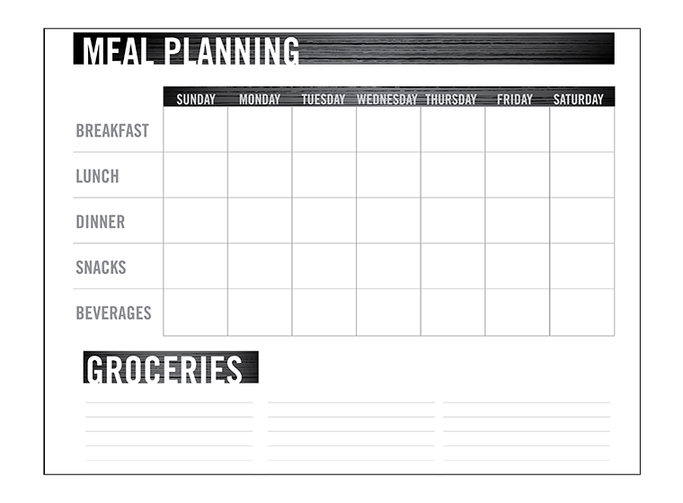 printables meal planning chart fellowes