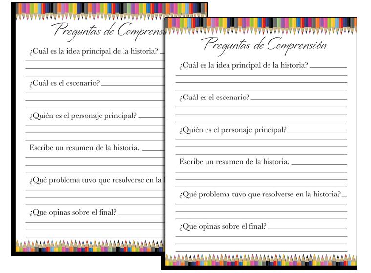 Printable - Spanish Reading Comprehension - Fellowes®