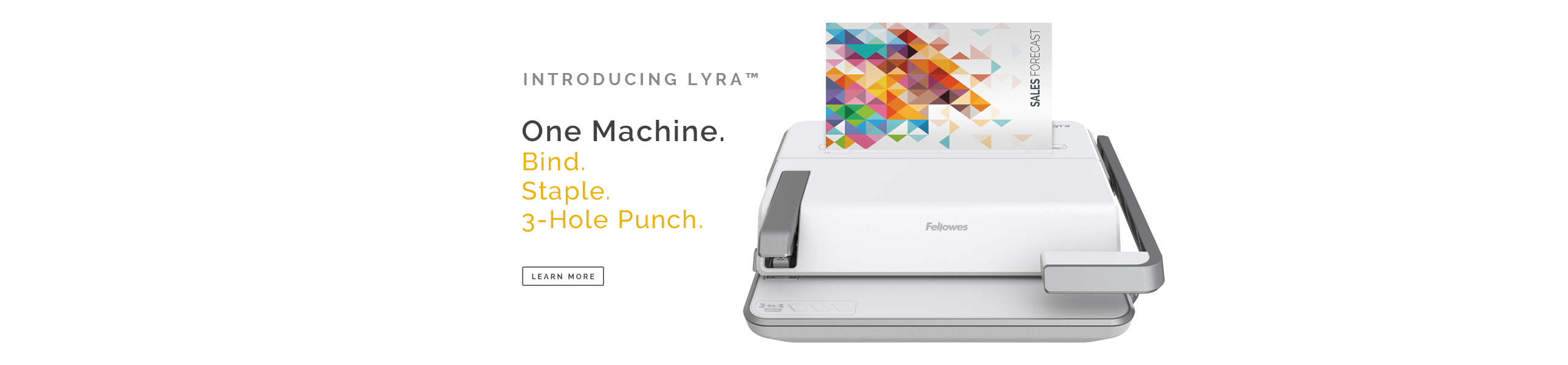 Introducing Fellowes Lyra Binging Machine - 3 in 1 Binding System. Bind - Staple - 3-Hole Punch