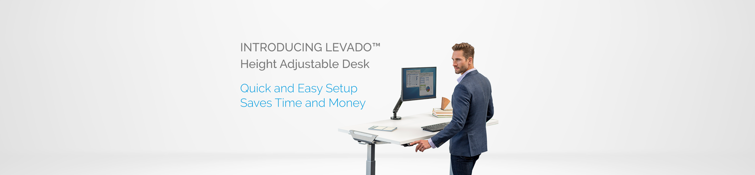 Levado - Height Adjustable Desk - Quick and Easy Setup - Saves Time and Money