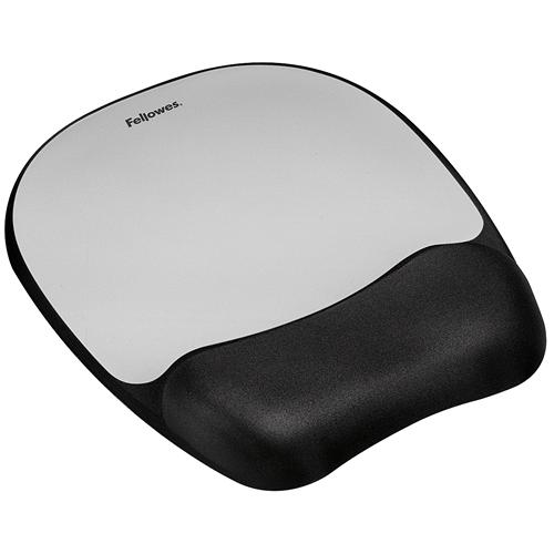 memory foam mouse pad wrist rest silver streak fellowes
