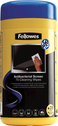 Fellowes® 100 Antibacterial Screen Cleaning Wipes - Fellowes®