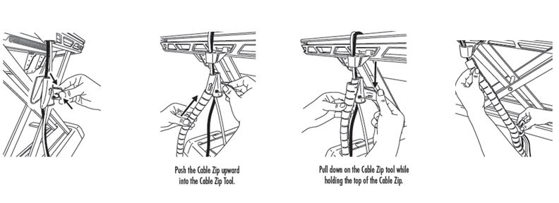 How can I apply the cable zip using the cable zip tool provided with my Lotus™ Sit-Stand Workstation?