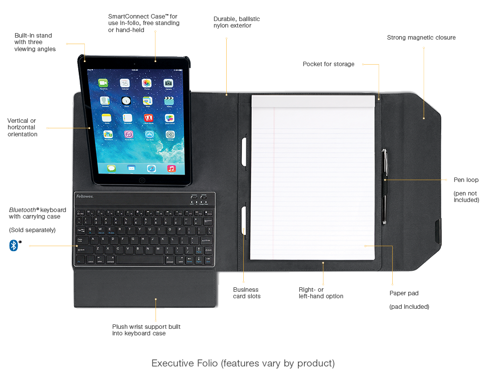 MobilePro Series Bluetooth Keyboard w//Carrying Case for Mobile Devices Tablets